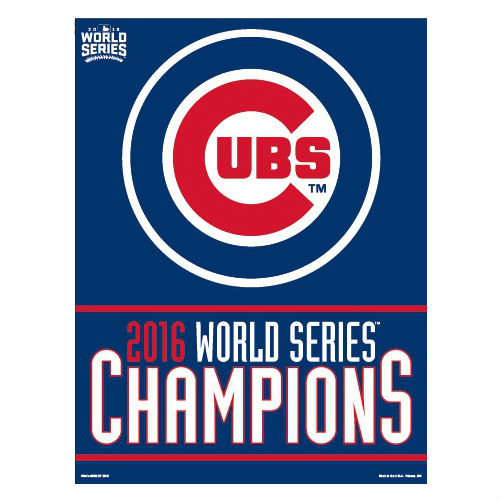 Chicago Cubs World Series Champion Vertical Banner