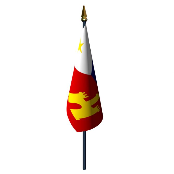4in x 6in Acadiana Flag with Staff and Spear