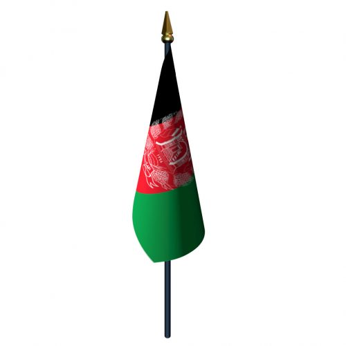 4in x 6in Afghanistan Flag with Staff and Spear