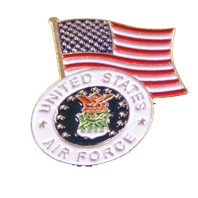 Dual American Flag and Air Force Seal Lapel Pin