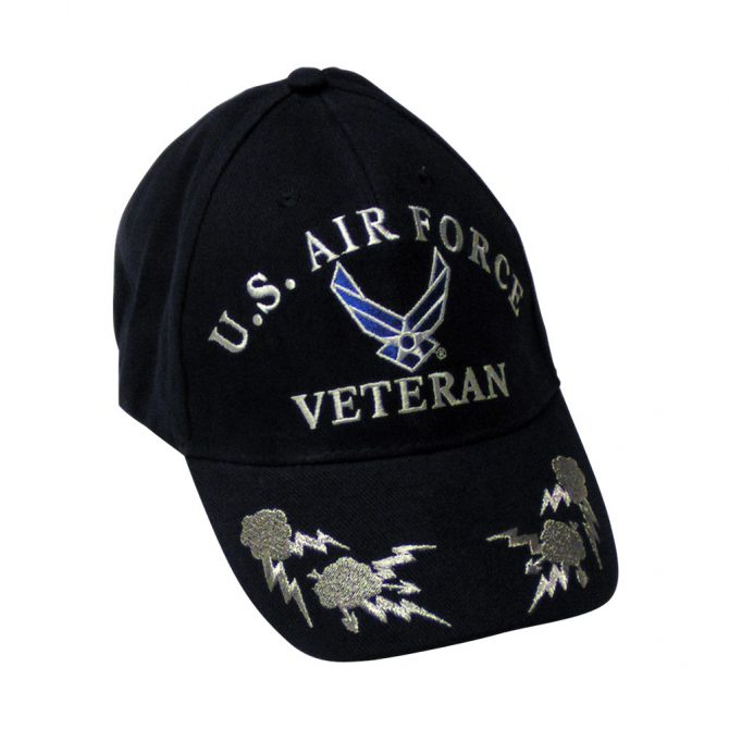 Air Force Veteran Black and Silver Embroidered Hat
