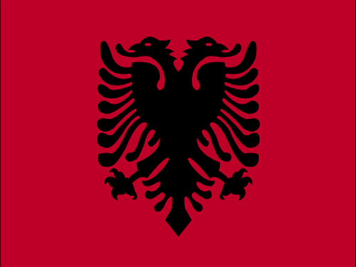 4in x 6in Albania Flag with Staff and Spear