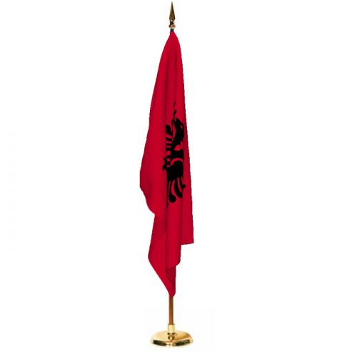 Indoor Albania Ceremonial Flag Set