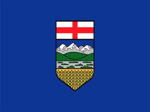 4in x 6in Alberta Flag with Staff and Spear