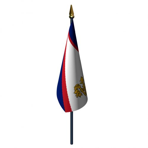 American Samoa Flag with Staff and Spear