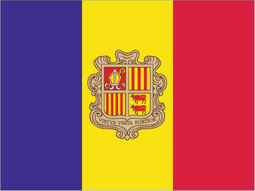 4in x 6in Andorra with Seal Flag with Staff and Spear