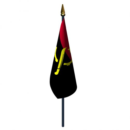 4in x 6in Angola Flag with Staff and Spear