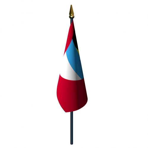 Antigua and Barbuda Flag with Staff and Spear
