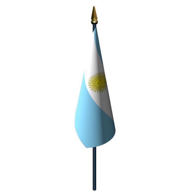 Argentina with Seal Flag with Staff and Spear