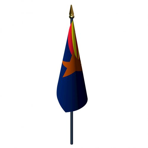 Arizona Flag with Staff and Spear