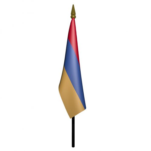 4in x 6in Armenia Flag with Staff and Spear