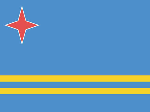 4in x 6in Aruba Flag with Staff and Spear