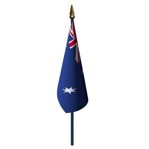 Australia Flag with Staff and Spear
