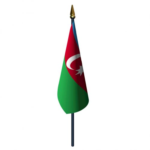 4in x 6in Azerbaijan Flag with Staff and Spear