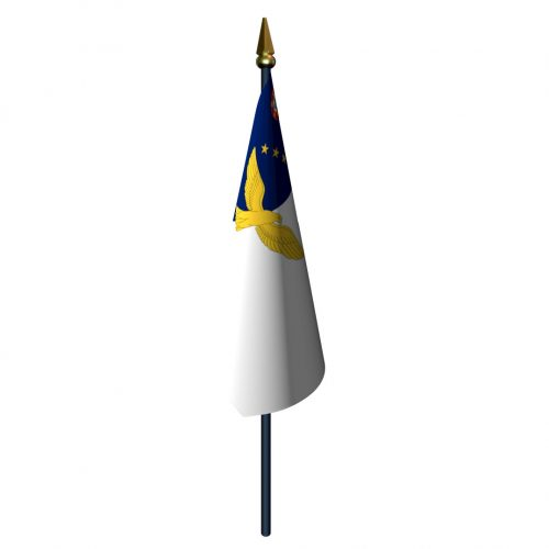 4in x 6in Azores Flag with Staff and Spear