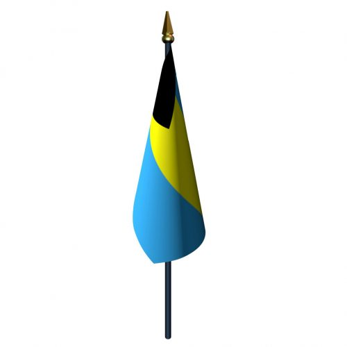 Bahamas Flag with Staff and Spear