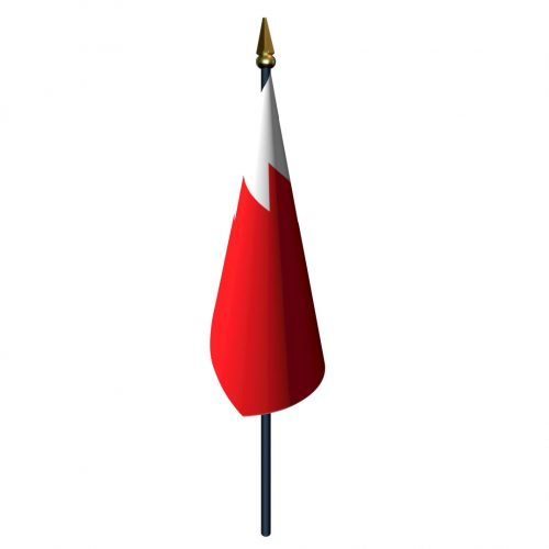4in x 6in Bahrain Flag with Staff and Spear