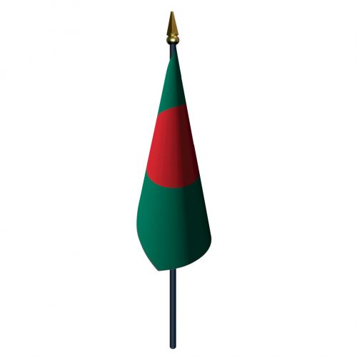 4in x 6in Bangladesh Flag with Staff and Spear