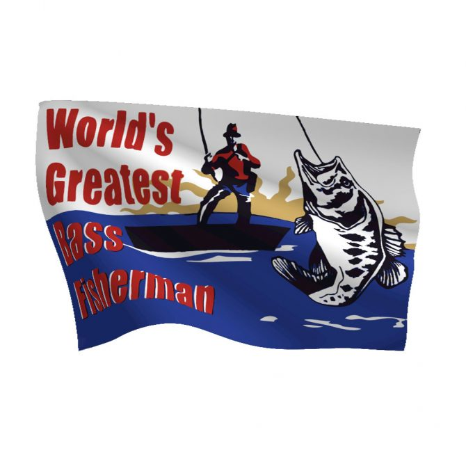 12in x 18in Worlds Greatest Bass Fisherman Flag