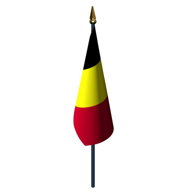 Belgium Flag with Staff and Spear