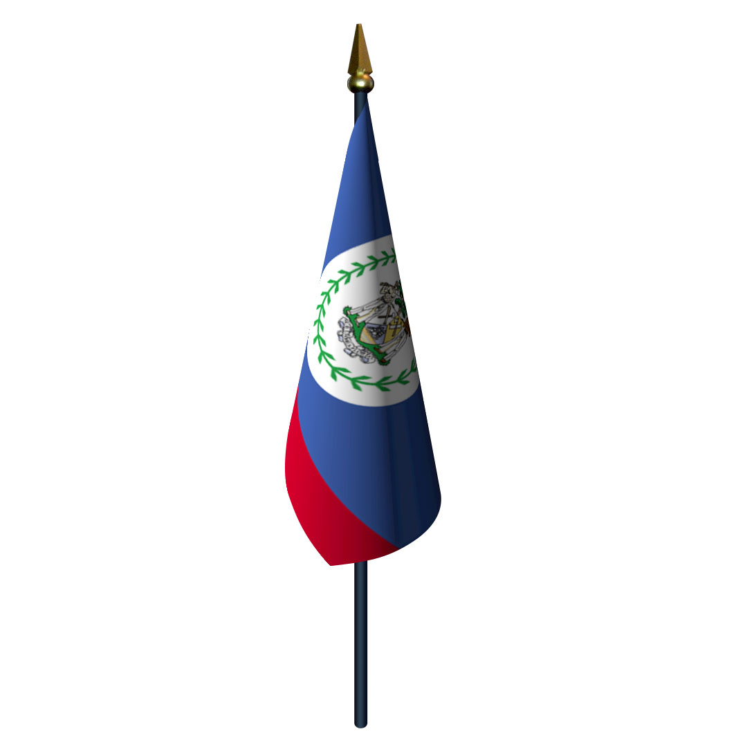 Belize Flag with Staff and Spear