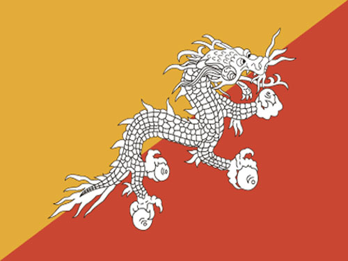 4in x 6in Bhutan Flag with Staff and Spear