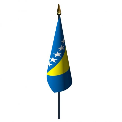 4in x 6in Bosnia and Herzegovina Flag with Staff and Spear
