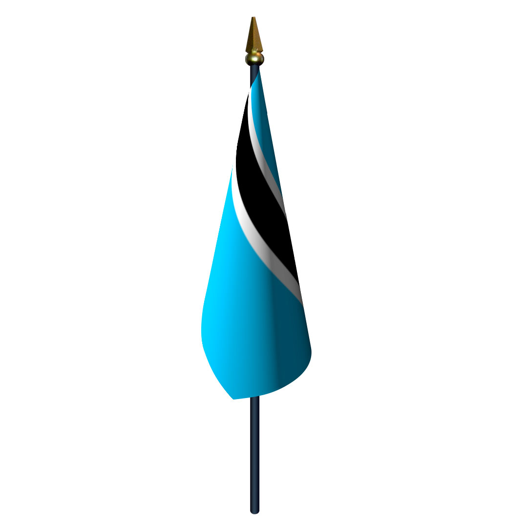4in x 6in Botswana Flag with Staff and Spear