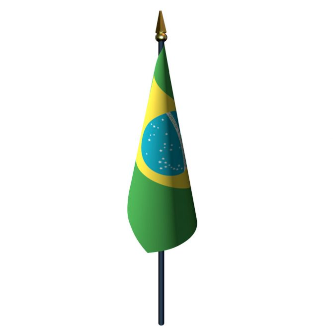 Brazil Flag with Staff and Spear