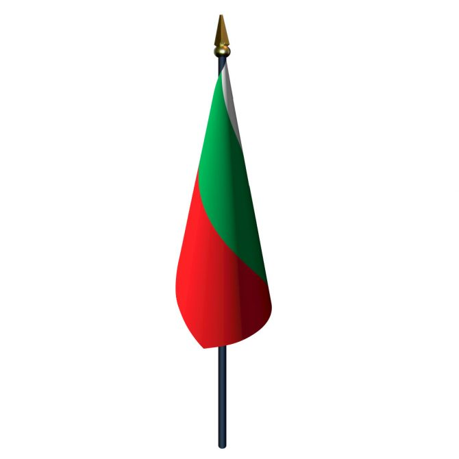 4in x 6in Bulgaria Flag with Staff and Spear