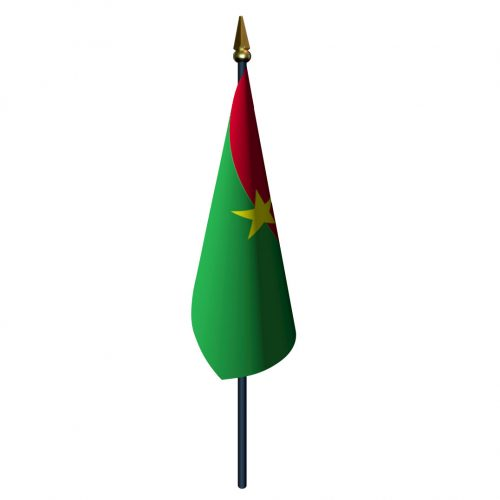 4in x 6in Burkina Flag with Staff and Spear