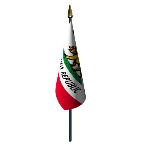 California Flag with Staff and Spear