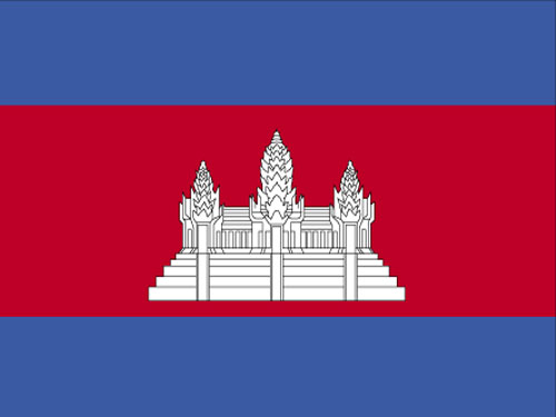 4in x 6in Cambodia Flag with Staff and Spear