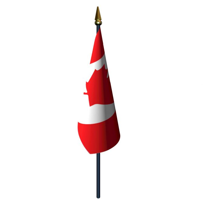 Canada Flag with Staff and Spear