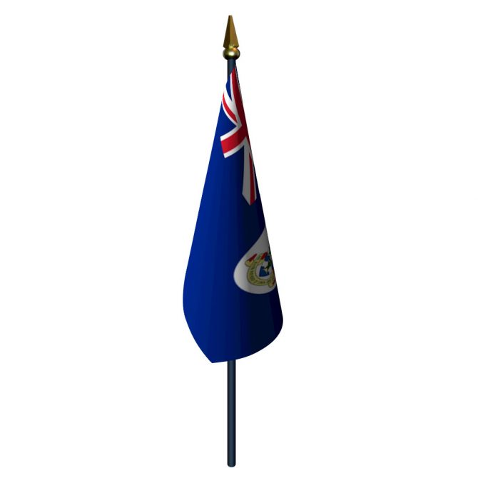 4in x 6in Cayman Islands Flag with Staff and Spear