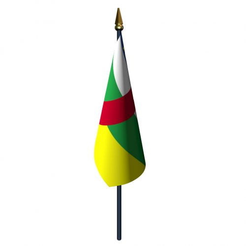 4in x 6in Central African Republic Flag with Staff and Spear