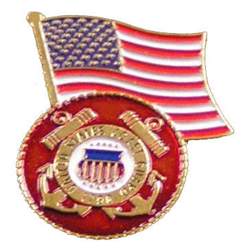 Dual American Flag and Coast Guard Seal Lapel Pin