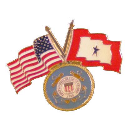America, Service Star and Coast Guard Flag Lapel Pin