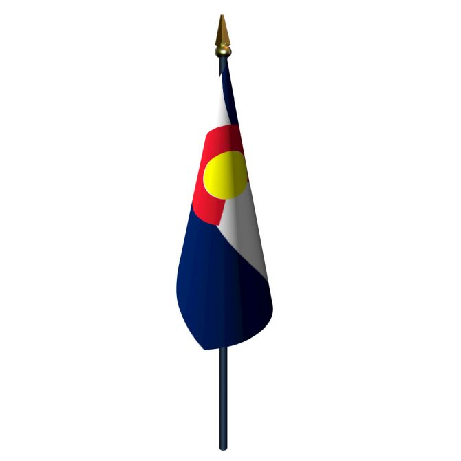 Colorado Flag with Staff and Spear