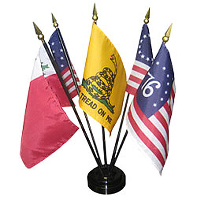 4in x 6in Colonial Flag Set Series #1 Desktop Flag Set
