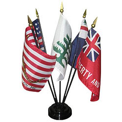 4in x 6in Colonial Flag Set Series #2 Desktop Flag Set