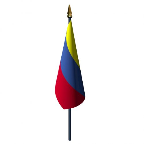 Colombia Flag with Staff and Spear