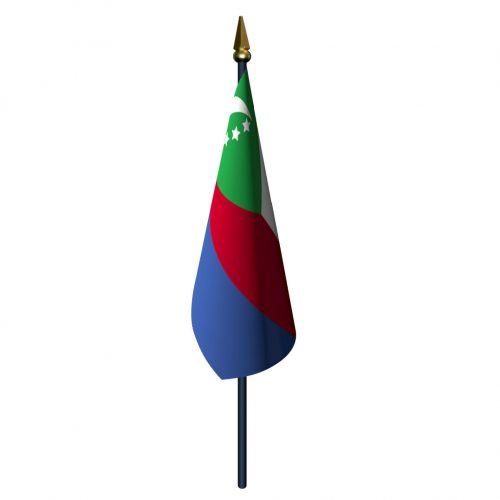 4in x 6in Comoros Flag with Staff and Spear