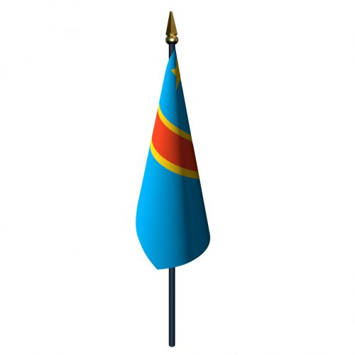 4in x 6in Congo Democratic Republic Flag with Staff and Spear