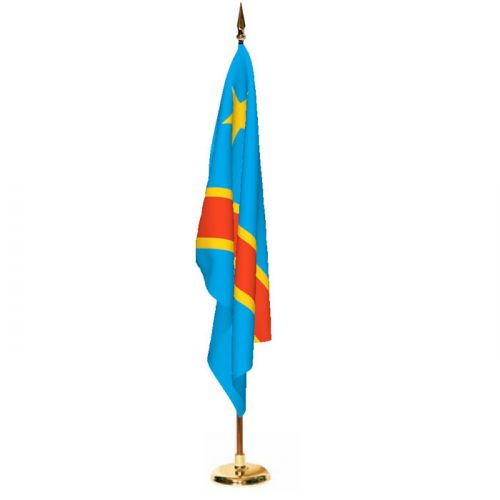 Indoor Congo Democratic Republic Ceremonial Flag Set