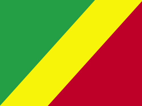 4in x 6in Congo Republic Flag with Staff and Spear