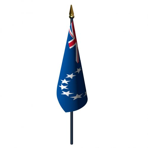 4in x 6in Cook Islands Flag with Staff and Spear