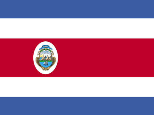 Costa Rica with Seal Flag with Staff and Spear