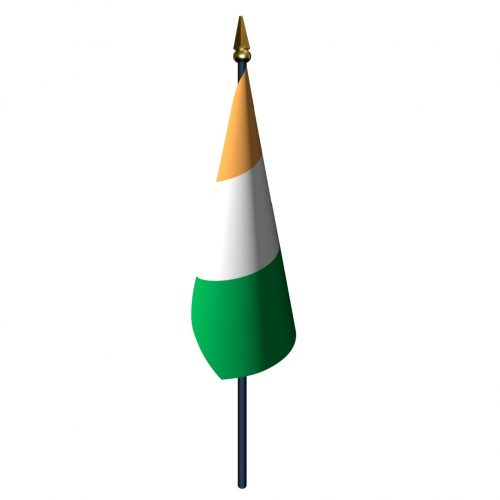 4in x 6in Cote D'ivoire Flag with Staff and Spear