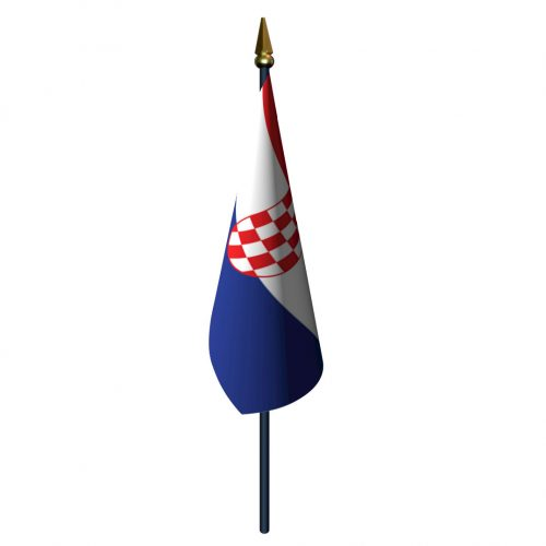 4in x 6in Croatia Flag with Staff and Spear